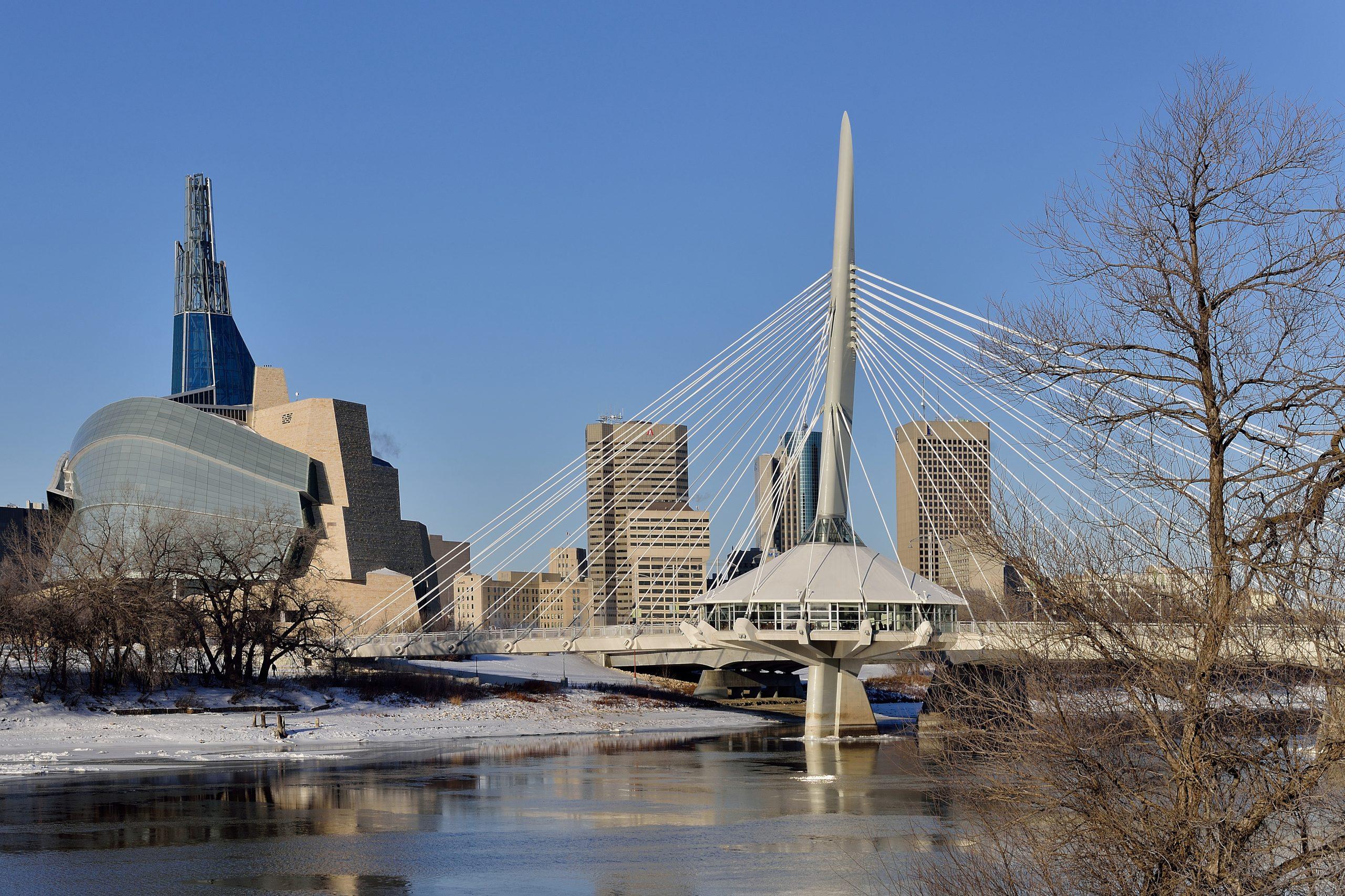 Landscape featuring the skyline from Winnipeg, Manitoba.