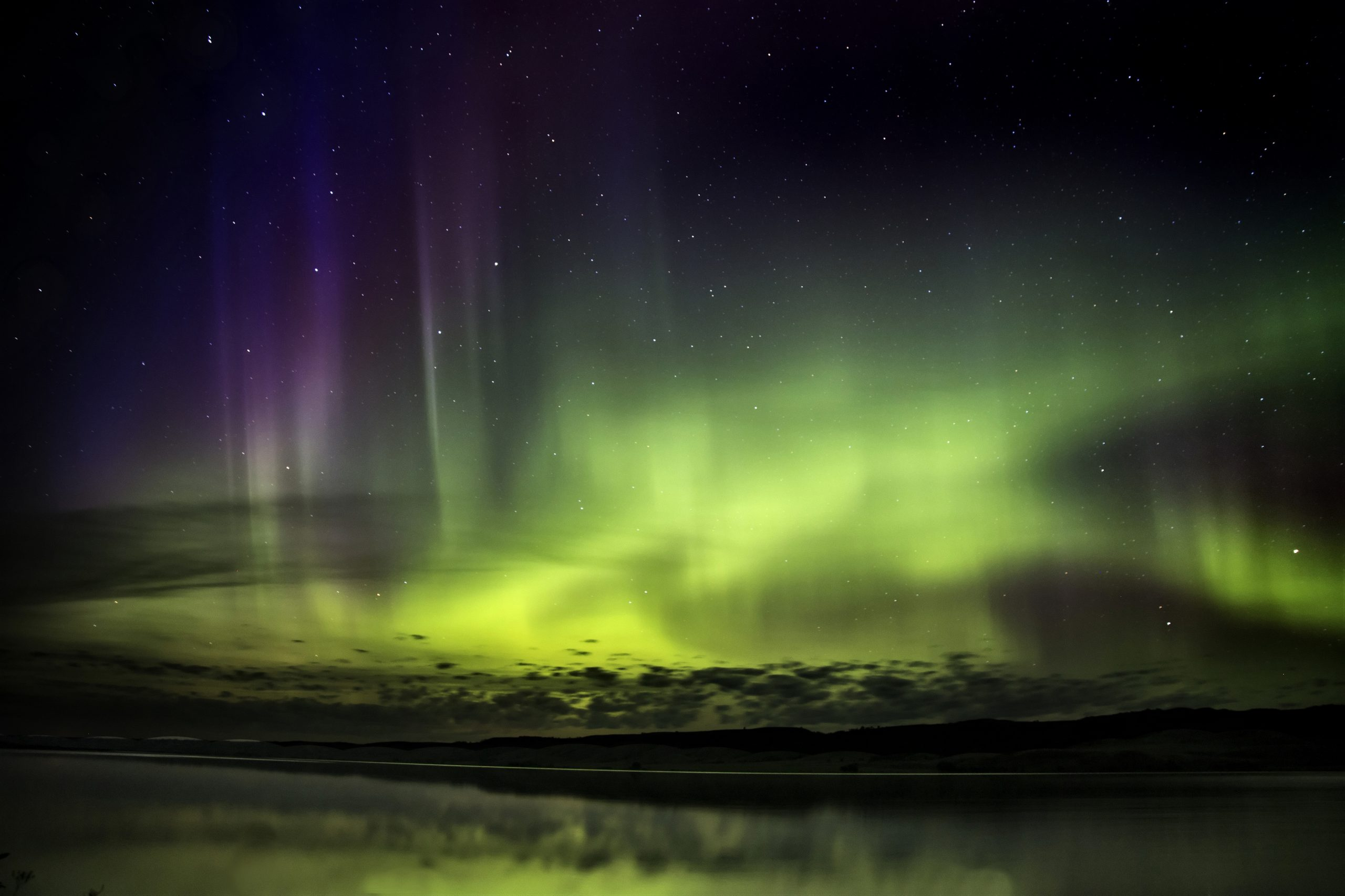 Northern Lights Aurora Borealis Saskatchewan reflection lake
