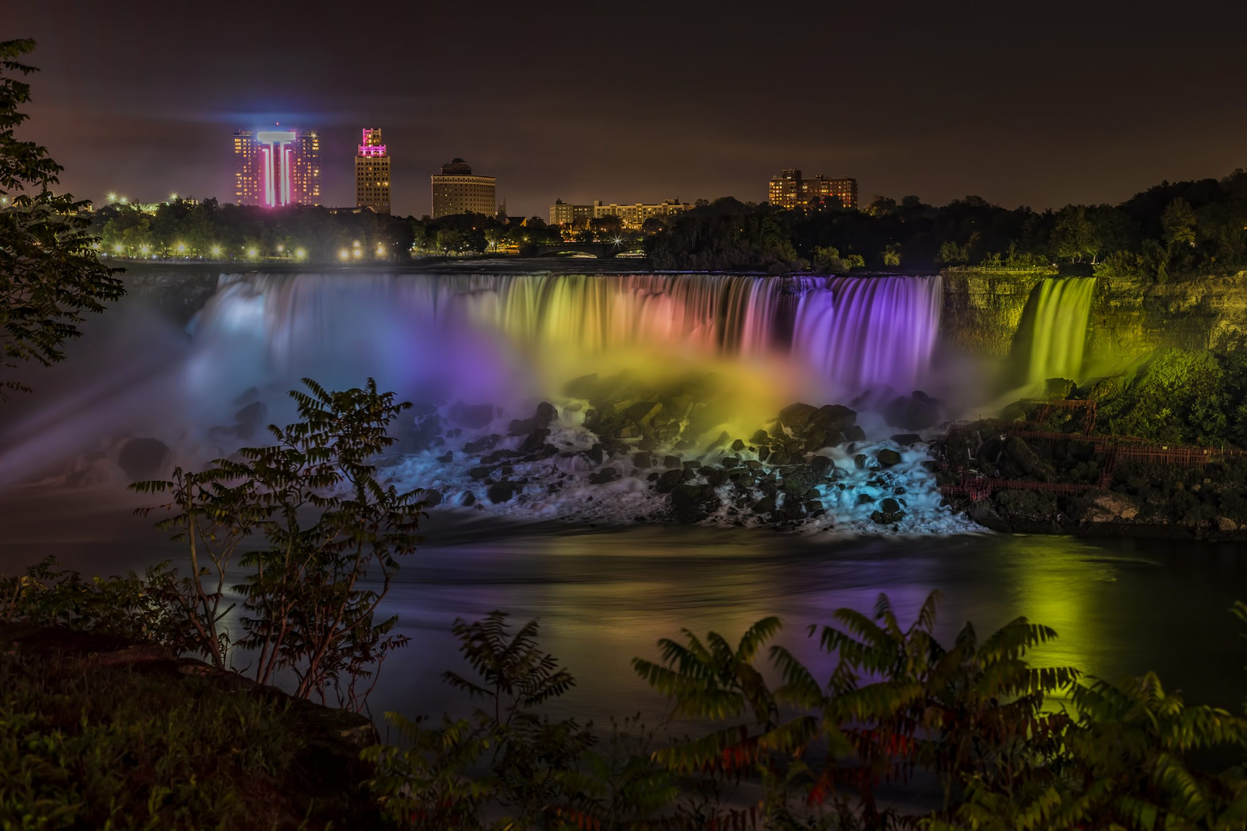American Falls Niagara at twilight and the mist.
